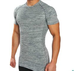 Grey textured Men's seamless t shirt