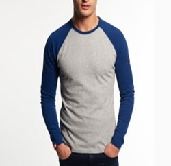 Preppy Royal Blue and Grey Baseball Tee