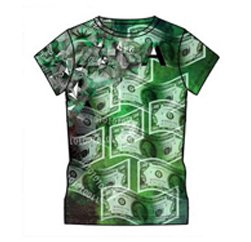 Attractive Green Dollar Print Custom T Shirt Suppliers