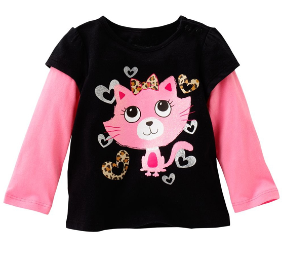 Black and Pink Kitty Frenzy Tee Suppliers