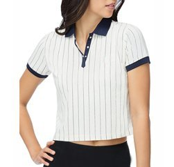 Black and White Crop Polo T-shirt