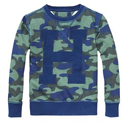 Blue Based Camo Print Boys' Tee Suppliers