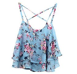 Blue Flower Power Cross Strap Tank Tee Suppliers