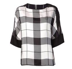 Elegant Black & White Checked Top