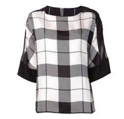 Elegant Black & White Checked Top