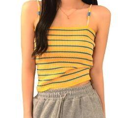 lemon yellow striped tank tee wholesaler