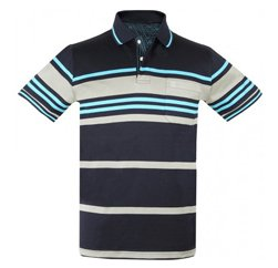 Navy Blue And Grey Striped Polo Manufacturers