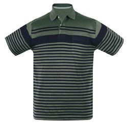 Olive Green Structured Stripe Polo Manufacturers
