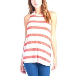 red and white candy stripe tank tee wholesaler