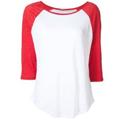 Red and White Funky Baseball Tee