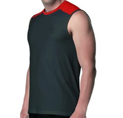 Red Plush High Tech Black Seamless T-Shirt
