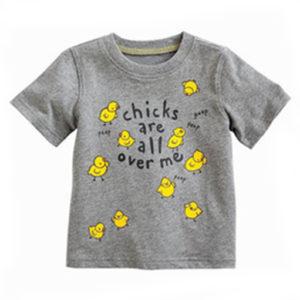 Soft Grey Chick Print Tees Manufacturers