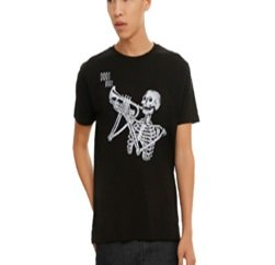 Scary yet Funny Black Graphic Printed Tee Suppliers