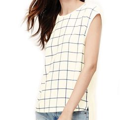 Wholesale Sleeveless White Windowpane Top In USA, UK and Australia