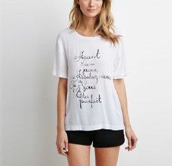 Subdued White Graphic Printed Girl's Tee Suppliers